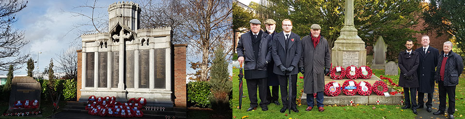 Picture left: The Leyland Cenotaph. Picture right: Eccleston Lodge members at St Mary's Church, Eccleston.
