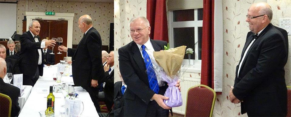 Picture left: John Darrell (left) toasts the new master during the master's song. Picture right: Derek Parkinson (left) is presented with flowers to take back to his wife, Joan.