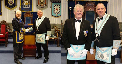 Picture left: David Randerson left) congratulates Mark Spragg Picture right: Father and son, Raymond and Mark Spragg.
