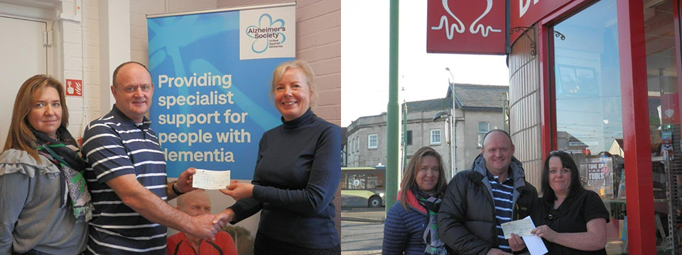 Freemasons supporting their local community. Picture left: Sam and Dean Roskell presenting a cheque to Alzheimer's Society manager Janet Holmes. Picture right: Sam and Dean presenting a cheque to British Heart Foundation area manager Joanne Farrell.