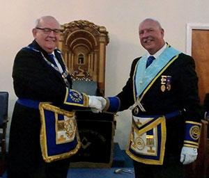 Phil Gunning (left) congratulating Andrew Clarke on becoming WM.