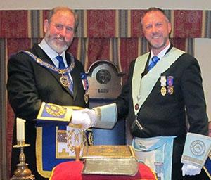 Frank Umbers (left) congratulating Rob Midgley on becoming WM.