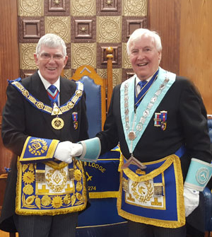 John Hutton takes charge at Border Lodge of Installed Masters.
