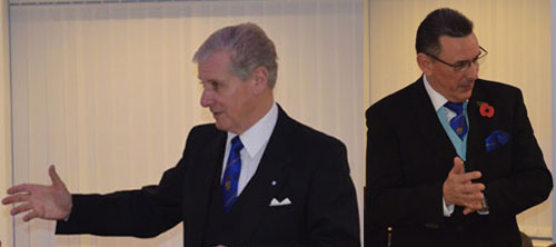 Pictured left: Stuart responds to the toast to the grand officers. Pictured right: Eddie responding to his toast.