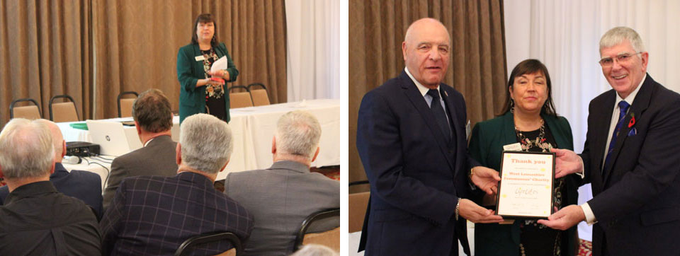 In the picture on the left - Simone Enefer-Doy is pictured giving her presentation. In the picture on the right - Simone is pictured presenting the certificate to Tony and Steve.