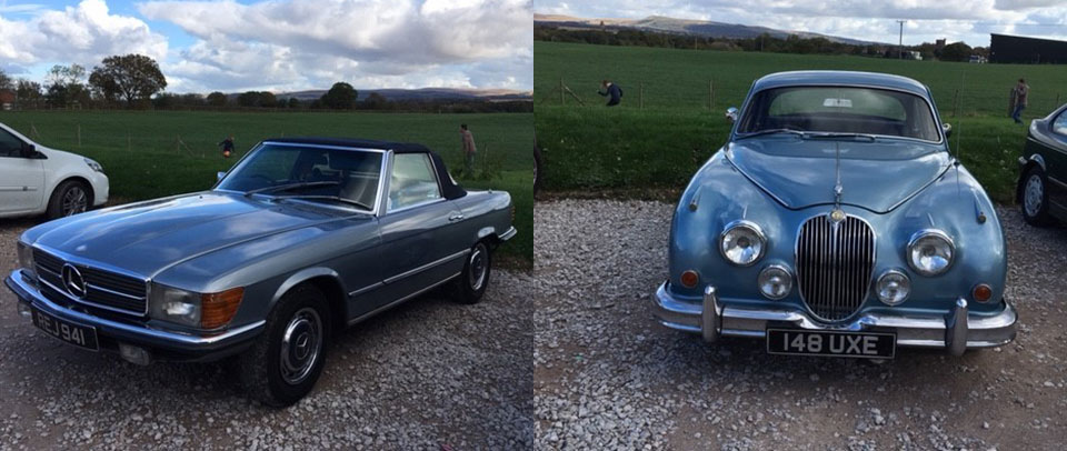 Picture left: A 1971 Mercedes-Benz 350SL. Picture right: A 1961 Jaguar 3.8 Mk2.
