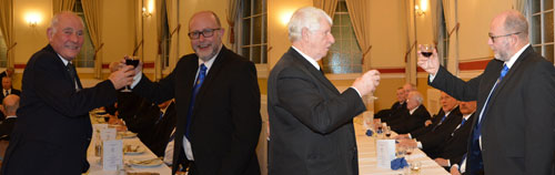 Picture left: Brian (left) taking wine with WM Robert, his son. Picture right: Norman Pritchard toasting Robert.
