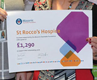 Freemasons donate £1,290 to St Rocco's