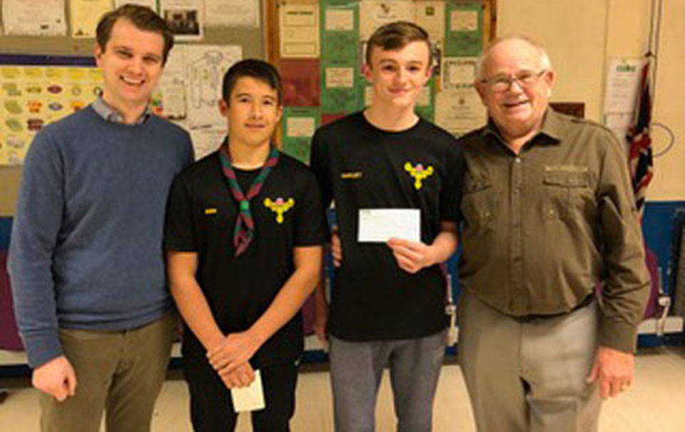 Pictured receiving their cheques from left to right, are: Jonathan Lever, Lewis Oakley, Ben Heaton and George Seddon.
