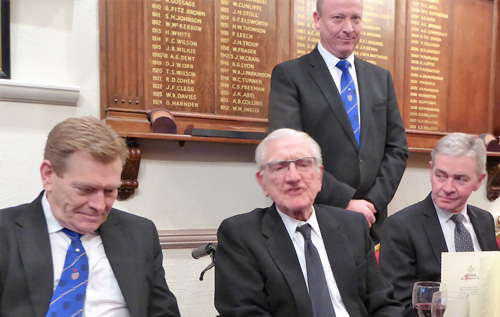 Ted Brown (centre) responds to the toast.