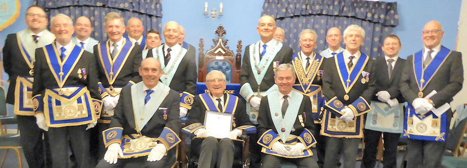 Brethren of the lodge with Ted Brown (centre).