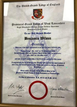 Ben's certificate.