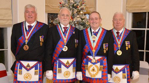 Tony (second right) with the acting Provincial grand officers.