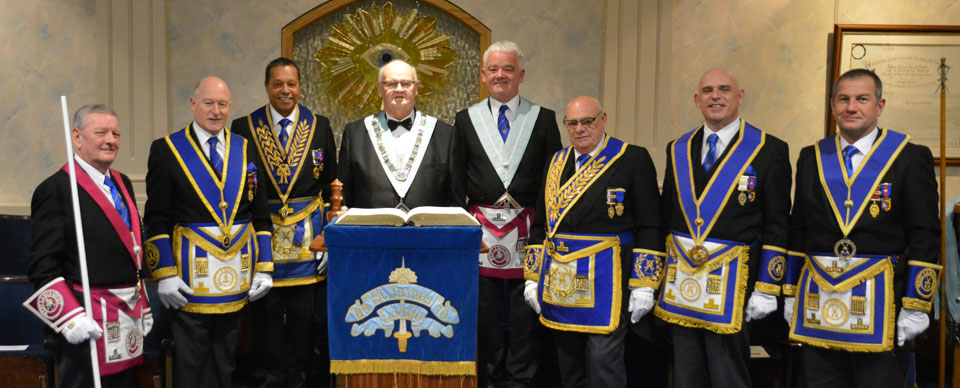 Pictured on the back row, are: Andy Wiltshire, Keith West and John Riley with group, grand and acting Provincial grand officers