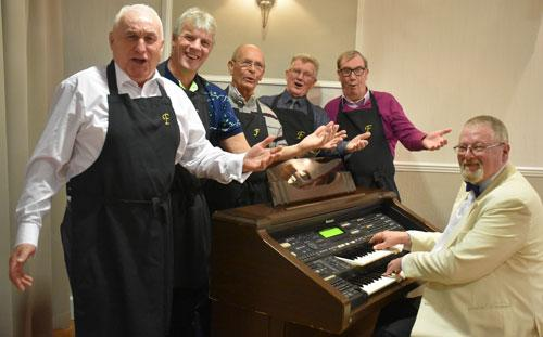 Pictured from left to right, are: Richard Wilcock, Ian Thompson, Ian Bethell, Tony Nevinson and Russ Greenhow with organist Paul Gregson.