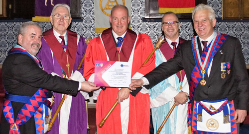 Pictured from left to right at the presentation of the vice patron's certificate, are: Christopher Butterfield, Ken Bradley, Mark Mellor, John McKenzie and Paul Shirley.