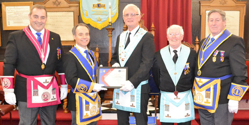 Pictured from left to right at the presentation of the Grand Patron's certificate, are: Scott Devine, Jonathan Heaton, Ian Macluskie, Roy Norman and Neil McGill.