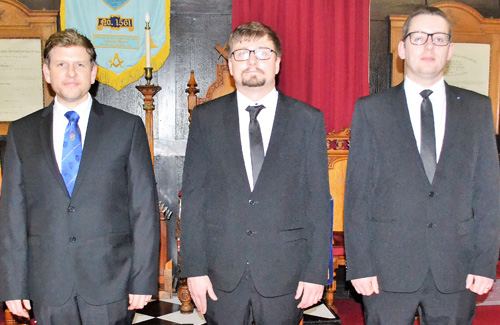 The brethren who delivered the working tools form left to right, are: Neil Armstrong, Mark Swanepoel and Michael Sweetman.