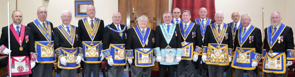 Pictured from left to right, are: David Grainger, Colin Martin, Paul Taylor and Neil McGill, (front - centre), together with grand and acting Provincial grand officers.