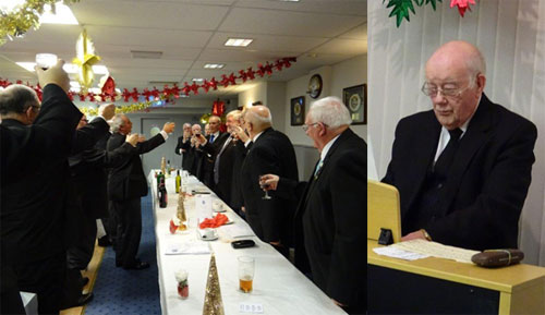 Pictured left: John Darrel and brethren toast Brian Crawford during the master's song. Pictured right: The tuneful David Brown on the organ.
