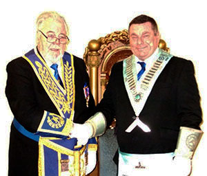 Roy Pyne (left) congratulating Kieron Lowe on becoming WM.
