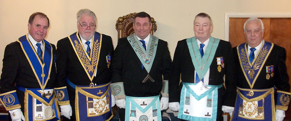 Pictured from left to right, are: Graham Chambers, Roy Pyne, Kieron Lowe, Anthony Prior and Malcolm Alexander.