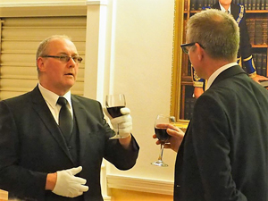 Ian Benson (left) during the master's song, with Nigel Walker, the senior warden, taking his part.