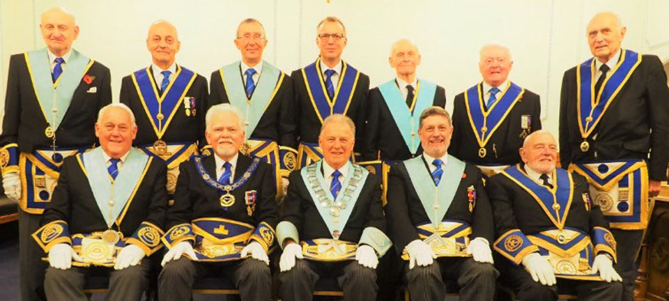 Lodge members pictured back row, from left to right, are: Brian Chesworth, Chris Tittley, David Eaves, Nigel Walker, Raymond Baguley, Patrick Dwyer and Malcolm Burrill. Front row from left to right, are: Ron Mapple, David Randerson, Geoff Fogden, Philip Watson and Roger Jones.