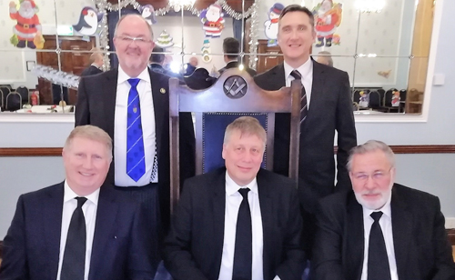 Pictured from left to right, are: (front) Steve Darlington, Martin Bos and Peter Johnson; (rear) John Calvert and Steve Cropper (Steve Darlington's sponsor and seconder respectively).