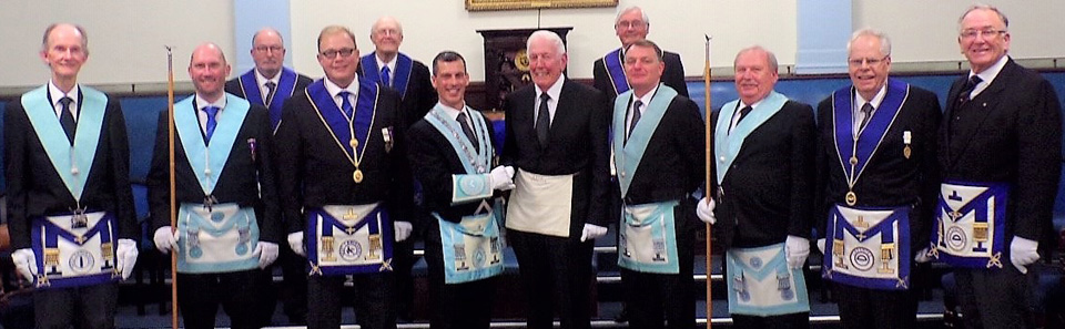 The brethren of the lodge with Joe Pender (centre).