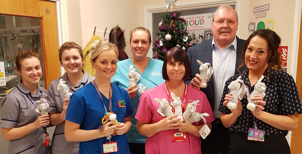 Hospital staff with Chris Gleave (back row right).