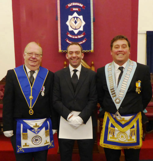 Pictured, from left to right, are: Chris Furmston, Gareth Furmston and Mark Ashlee, WM of Safeguard Lodge.