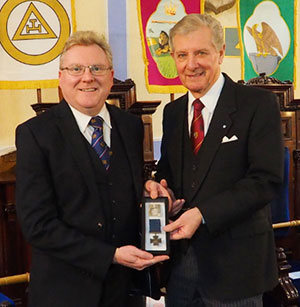 Mark Smith (left) and John Thornber with George Hinckley's Victoria Cross.