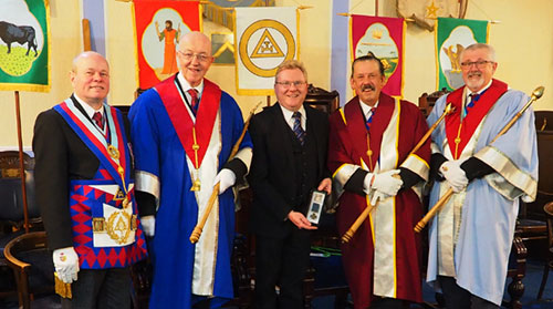 Pictured from left to right, are: Duncan Smith, Alan Fairhurst, Lt Col Mark Smith, Norman Thomas and David Barr.