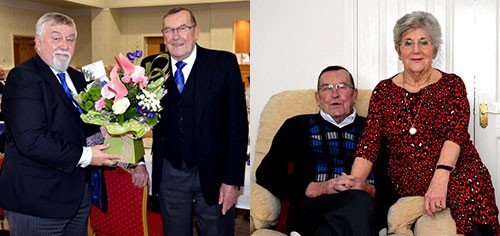 Picture left: Malcolm Timms (left) presents Gordon with flowers at the end of the evening for his wife Joan. Picture right: Gordon and Joan relaxing at home.