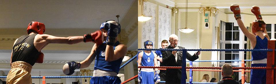 Picture left: Louis Smith of Barrow ABC (left) in action against Marc Haughian of Carlisle Villa ABC. Picture right: MC Ralph Spours announces the next bout.