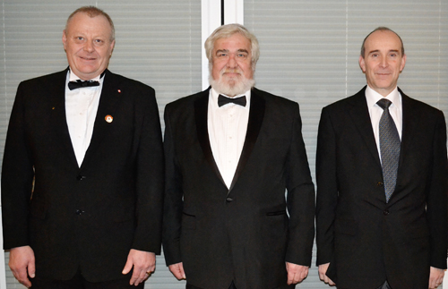 Pictured from left to right are the brethren who presented the working tools: Darren Holden, John Gunson and David Jackson