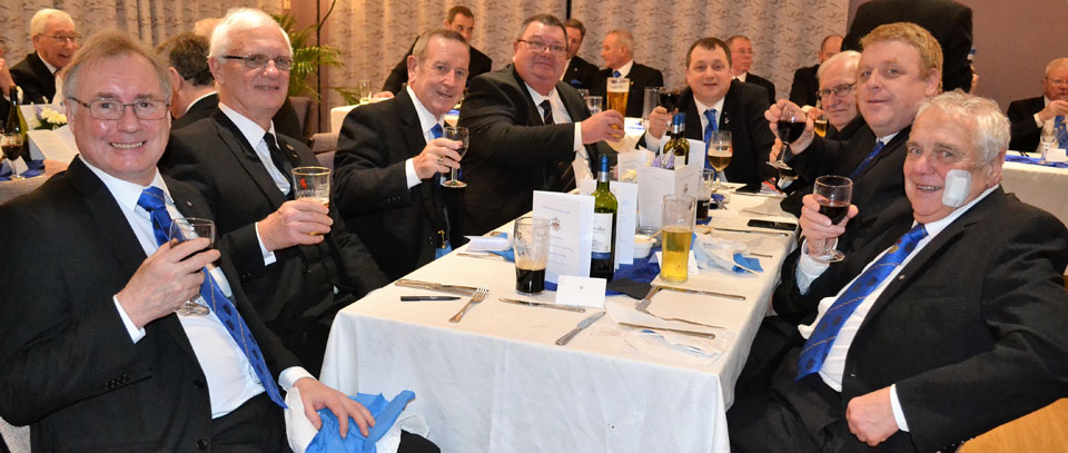 Pictured are worshipful masters from around the Lancaster and District Group enjoying a great evening and supporting the master of Silverdale Lodge.