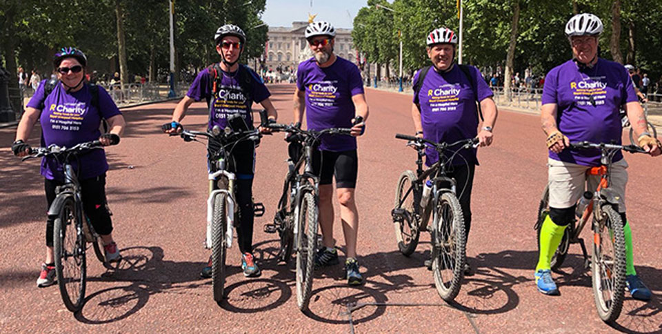 Pictured left to right, are the 2018 riders at Buckingham Palace:. Angie McShane, Chris Walls, Tony Farrar, Gordon Sanford and Steve Walls.