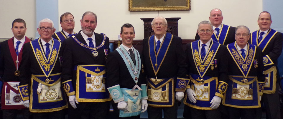 Brian with WM Richard Gillett (centre) with grand and Provincial grand officers.
