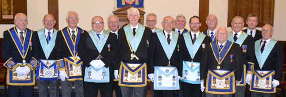 Graham and Norman with the great and the good of Academy Lodge