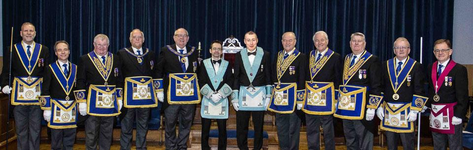 Simon and David (center) with Phillip Gunning and the grand and acting Provincial grand officers.