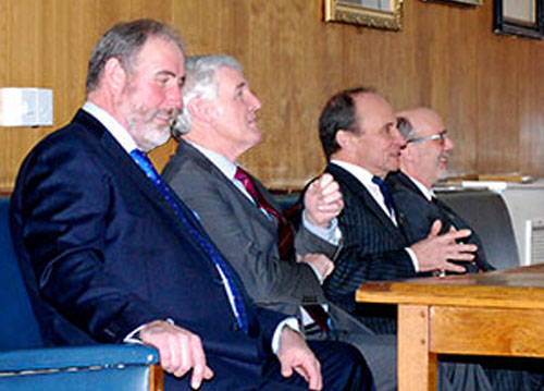 The principal guests answering questions, from left to right, are: Frank Umbers, Paul Renton, Peter Taylor and Robert Case.