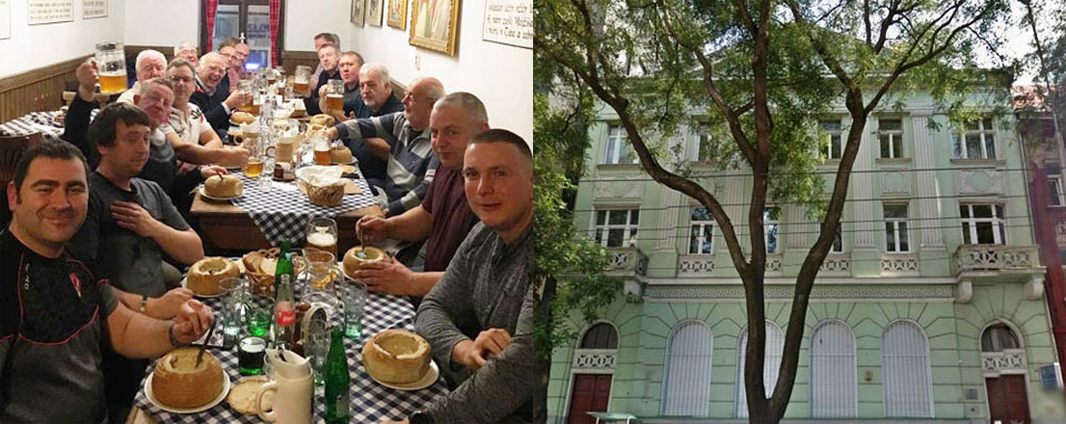 Pictured left: The brethren enjoying the good food, beer and great company. Pictured right: The Masonic Hall in Bratislava.