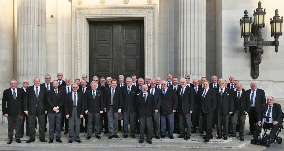 Tony with the West Lancs brethren on the steps outside Grand lodge.