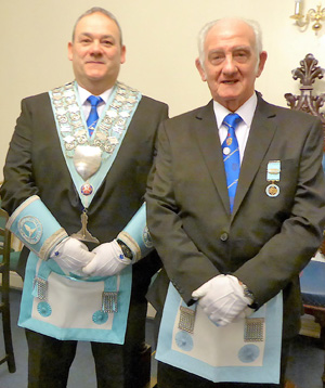 Master elect Stephen Booker (left) and his father Ernie Booker.