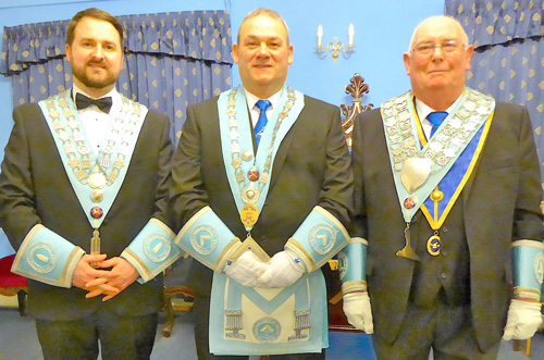 The newly installed WM and his wardens. Pictured from left to right, are: Edward Hanna (SW); Stephen Booker and Michael Daly (JW).