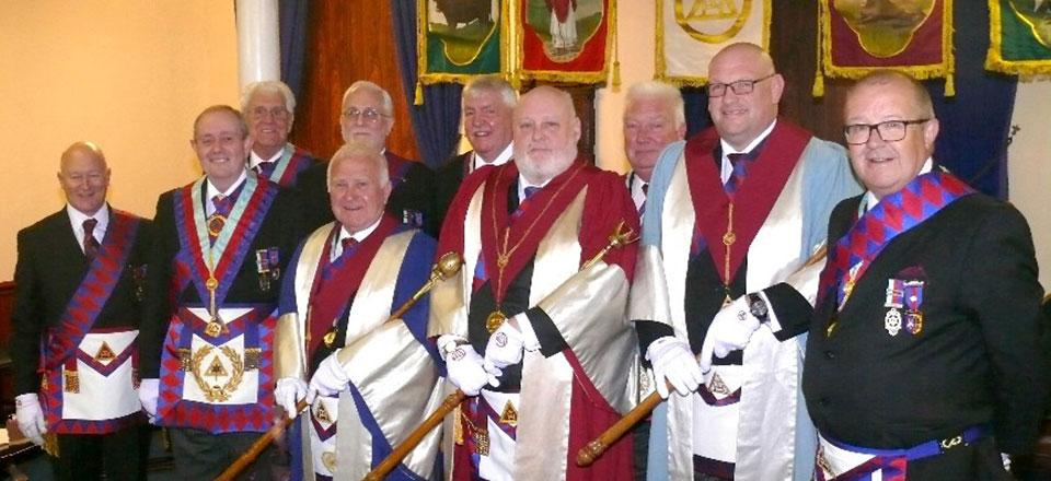 The three principals with grand and acting Provincial grand officers.