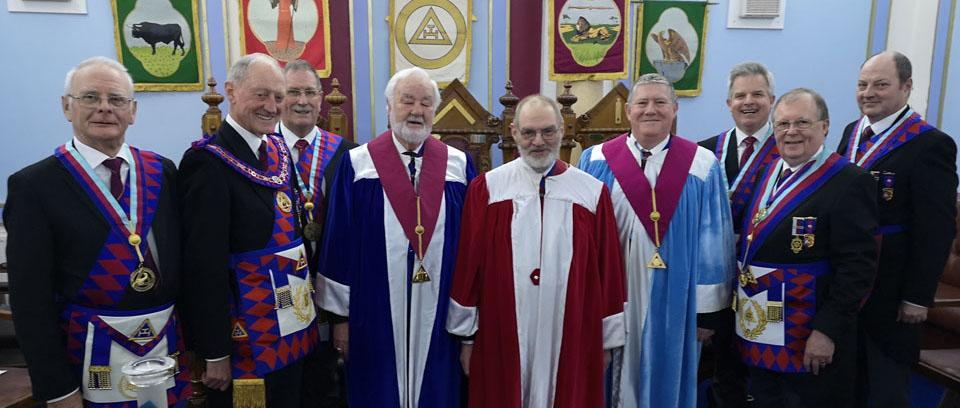 Barry with the three principals, grand and acting Provincial grand officers.