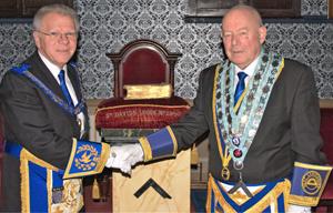 Derek Parkinson (left) congratulates Hughie O'Neil.
